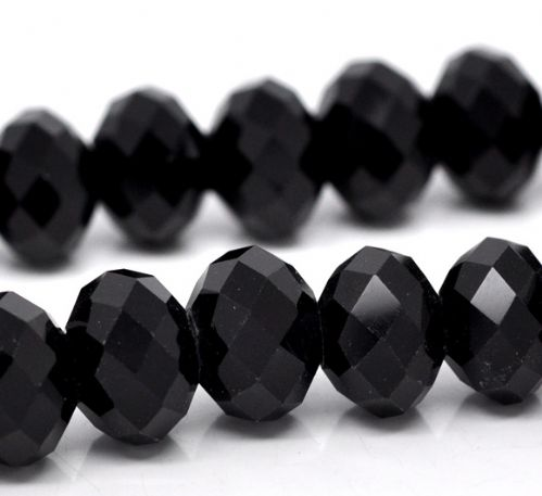 20 Black Crystal Glass Faceted Rondelle  Beads 12 x 8.2mm